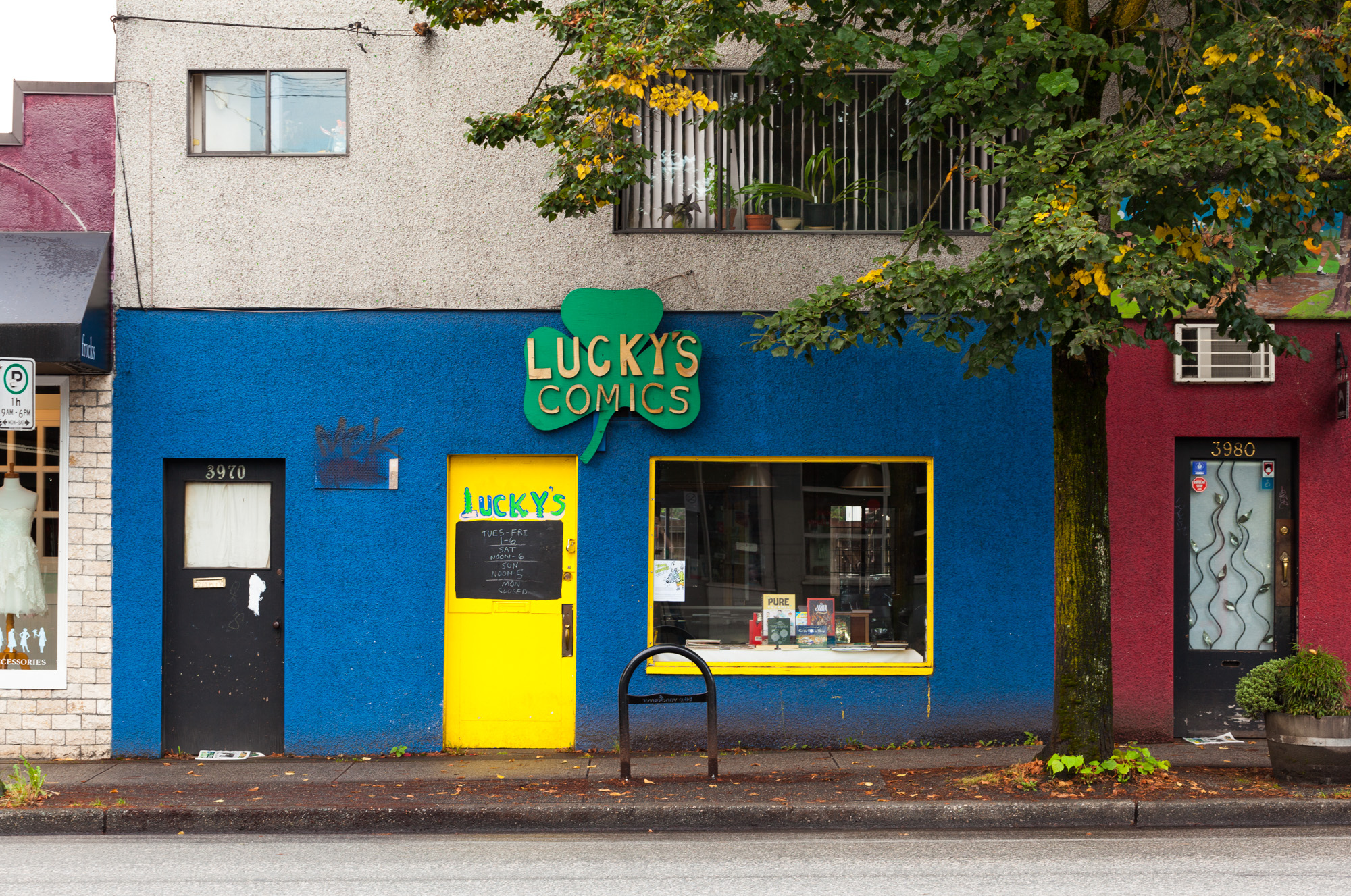 Lucky's Comics storefront on Main Street, Vancouver, BC.